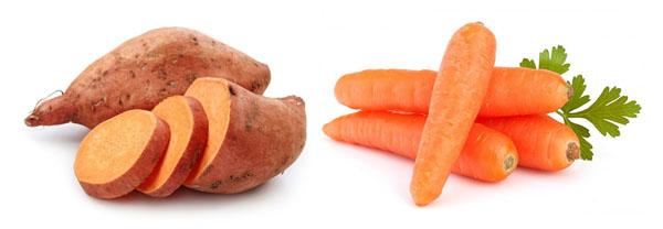 Thực phẩm bổ sung collagen - Rau củ có màu cam